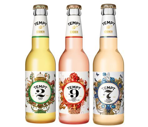 These Tempt Cider bottles not only look beautiful but the flavors (Elderflower & Blueberry, Strawberry & Lime) sound divine.