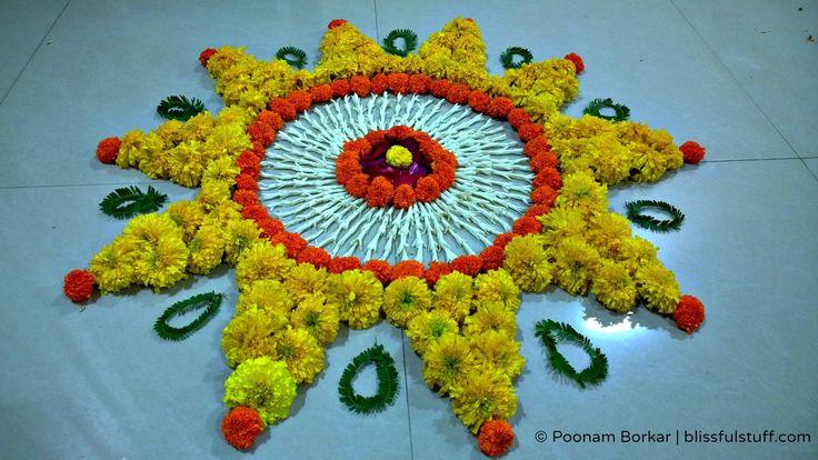 Diwali Special - Rangoli Design with marigold flowers, How to make rango...