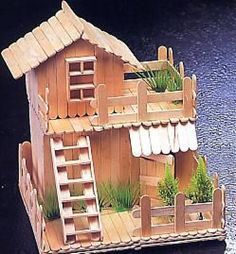 como hacer casitas en palitos de paleta - Buscar con Google