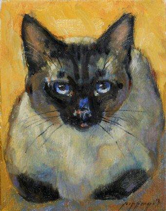 Siamese Cat mini portrait small by PoppengaArtStudio, etsy