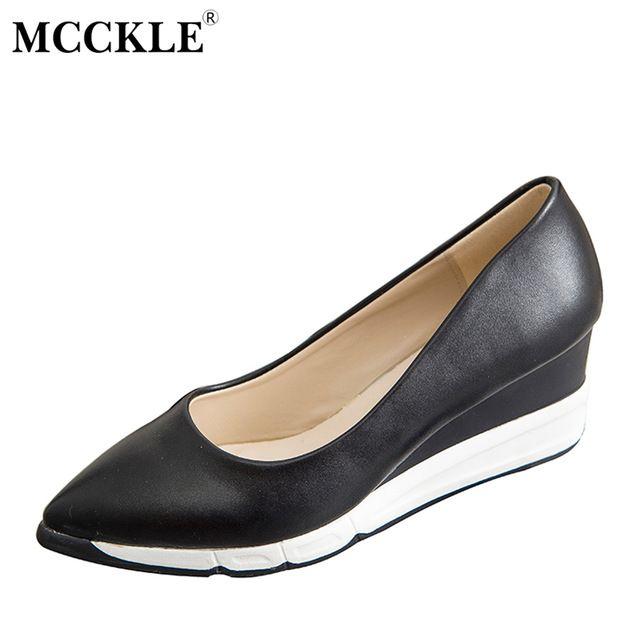 MCCKLE cuñas de moda mujer Leopardo zapatos de plataforma cómoda punto de deslizamiento del dedo del pie zapatos casuales sexy vogue nuevo estilo D0052