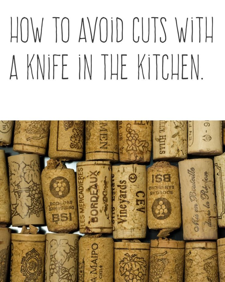How to avoid cuts with a knife in the kitchen. | For safety, put a wine cork on the tip of a knife before putting the knife in a drawer. | More cooking tips and hacks https://happyforks.com/hack/286
