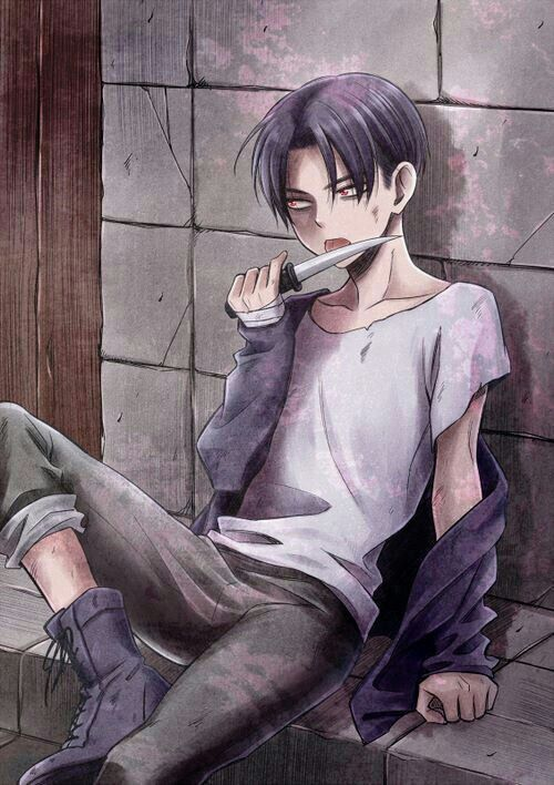 Levi Ackerman, young, childhood, knife; Attack on Titan
