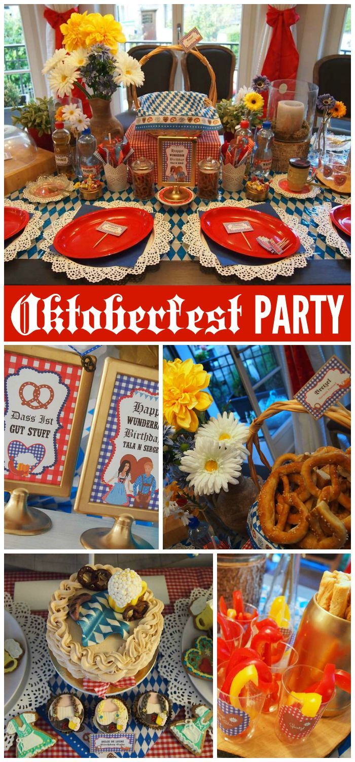 An Oktoberfest birthday party with dirndl's, lederhosen, bratwurst, beer and a lot of games!  See more party planning ideas at CatchMyParty.com/?utm_content=bufferef959&utm_medium=social&utm_source=pinterest.com&utm_campaign=buffer!