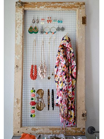 Upcycle Household Stuff Into Storage Solutions - iVillage - accessory organizer with old window frame