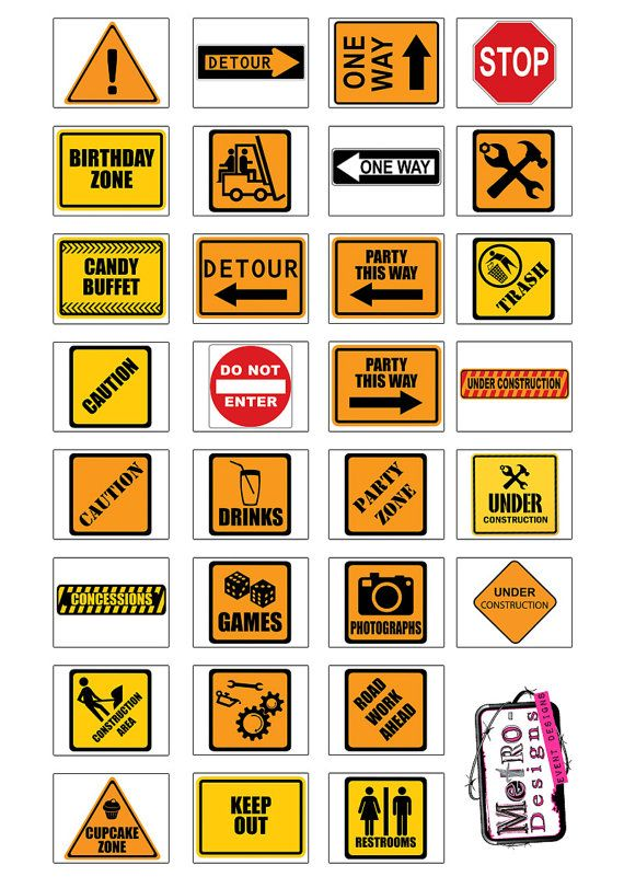 Construction Theme  30 Party Signs  Digital Files by MetroEvents, $5.98