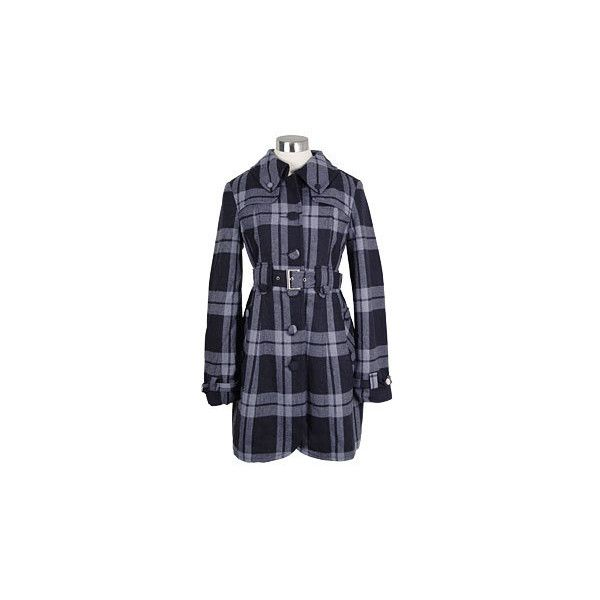PLASTICLAND - Navy Plaid Wool Trench Coat by Tulle Clothing ($90) ❤ liked on Polyvore featuring outerwear, coats, jackets, plaid, tulle clothing, navy coat, blue wool coat, plaid trench coat and wool trench coats