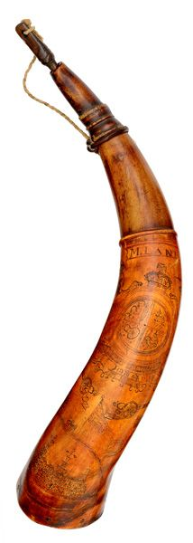 """Engraved Powder Horn ID'd to M. Lane 4/26 & 4/27 - Firearms and Militaria: Live Salesroom Auction 16.5"""" curved horn, turned spout with three raised rings.  M. Lane engraved in a banner top center; British Coat of Arms center of horn with cannons, flags and houses; bottom center of horn has a great walled city. Left side has the date 1775 and a tree."""