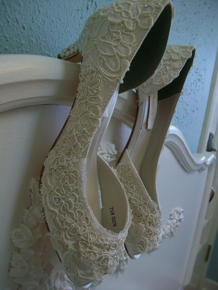 Lace Wedding Shoes Vintage Antique Lace Pearls Kitten Heels Bride Bridesmaid Ivory Swarovski Crystal Bridal. $285.00, via Etsy.