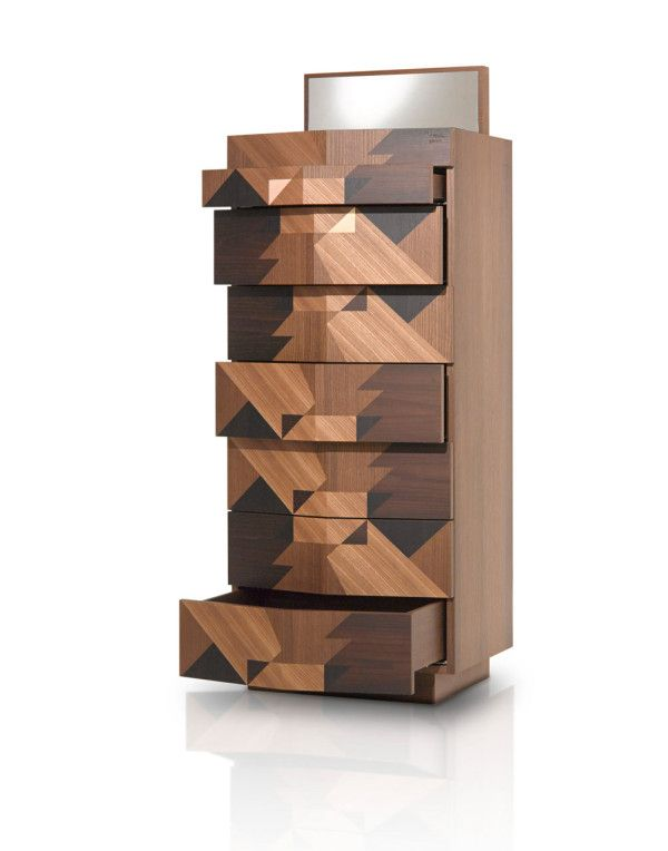 Geometric inlaid sideboards by Alessandro Mendini, designed for Porro
