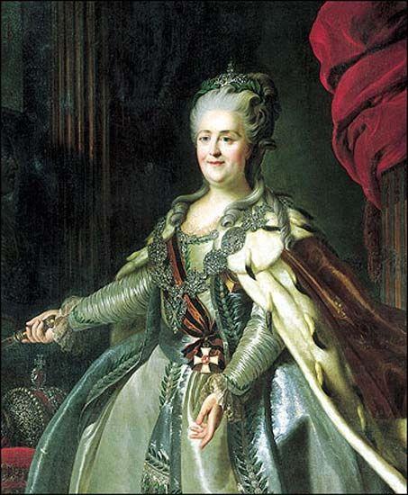 Екатерина II Алексеевна Великая (урождённая София Августа Фредерика Ангальт-Цербстская, нем. Sophie Auguste Friederike von Anhalt-Zerbst-Dornburg, в православии Екатерина Алексе́евна; 21 апреля [2 мая] 1729, Штеттин, Пруссия — 6 [17] ноября 1796, Зимний дворец, Петербург) — императрица всероссийская с 1762 по 1796 год.  Дочь князя Ангальт-Цербстского, Екатерина пришла к власти в ходе дворцового переворота, свергнувшего с престола её непопулярного мужа Петра III.
