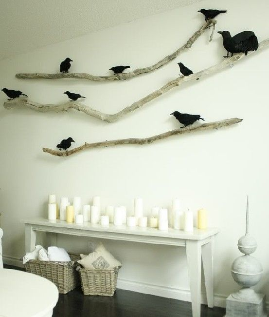 start saving driftwood/make colorful birds? Maybe in stairway?
