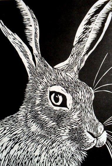 Hare Linocut Print on Etsy, $86.54 AUD