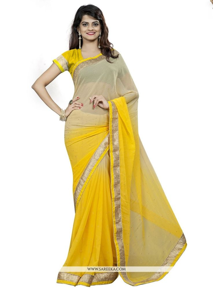 We have ensemble a symphony of enchanting piece to restyle your senses. Make an adorable statement in such a smashy yellow faux chiffon casual saree. This desirable attire is showing some remarkable e...