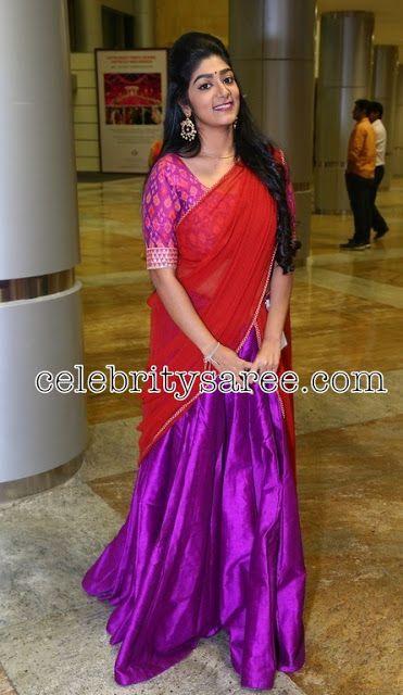 Purple Plain Half Saree - Saree Blouse Patterns