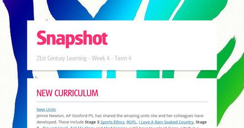 New Curriculum New UnitsJennie Newton, AP Gosford PS, has shared the amazing units she and her colleagues have developed. These include...