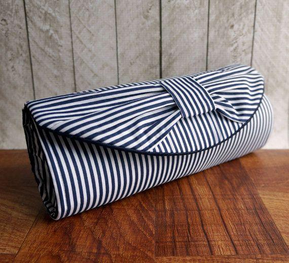 Nautical clutch. Navy blue clutch bag, blue and white stripe bow clutch purse. Wedding clutch. Nautical wedding