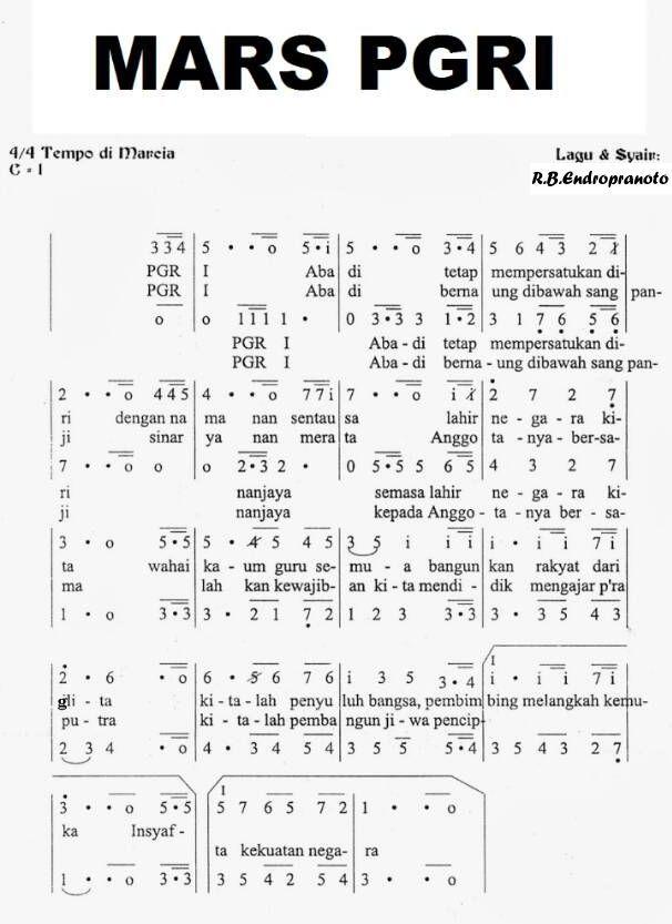 Notasi Lagu Mars Pgri Lirik Lagu Lagu Lirik