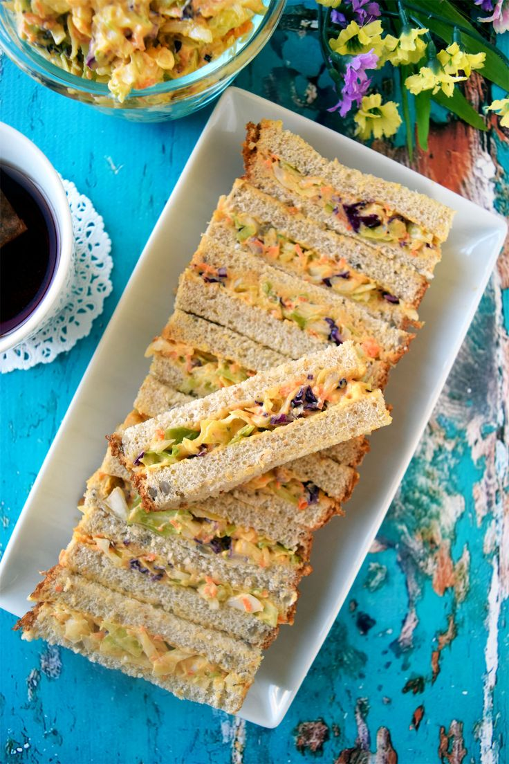 These easy vegan coleslaw sandwich bars are so quick to put up as a meal or a snack.This delicious filling can be made ahead of time.No cook party perfect.