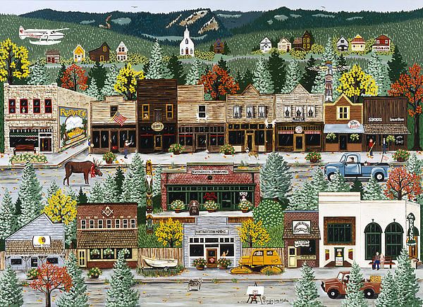 """Northern Exposure"" Television show was filmed in ""Roslyn, Washington"" by International Artist Jennifer Lake.  All copyrights owned and managed by Avocet International LLC."