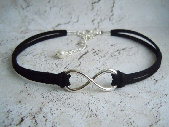 Infinity Choker, Boho Choker, Infinity Necklace, Faux Suede, Boho Necklace, Infinity Jewelry, Gift, Friendship, Black Choker, Infinite Love  Handcrafted With 3mm Faux Suede, Antique Silver Plated Infinity Symbol 29x10mm  Finished With a Silver Plated Lobster Clasp & 3 Extender Chain With Glass Pearl Drop  Please Choose Length Required - The Length You Choose Should Be The Exact Size of Your Neck. The Extender Allows For Additional Length (Can Be Made To Fit Any Size Just Select From Drop…