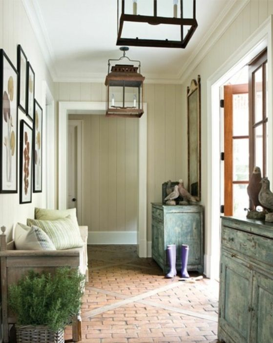 This Mudroom Is Has So Many Fabulous Ideas. Like The Furniture Pieces, The  Brick Floors, The Lighting, And The Wall Paint Color.