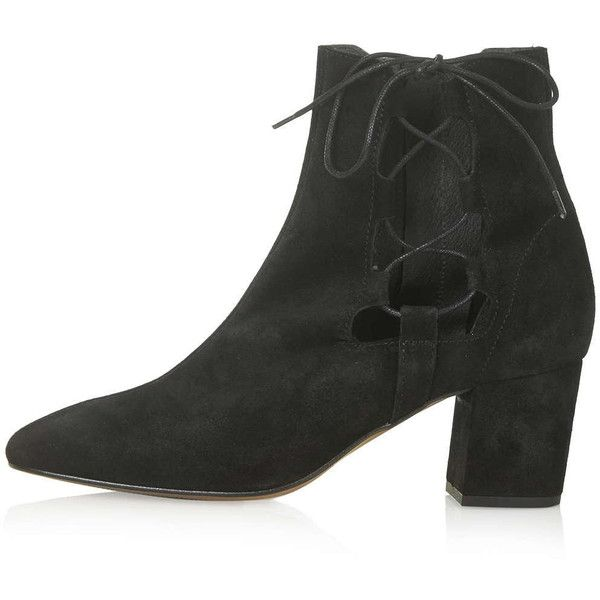 TOPSHOP MADRID Ghillie Side Tie Boots featuring polyvore, fashion, shoes, boots, ankle booties, topshop, black, leather boots, black booties, short black boots, black leather booties and black pointed toe booties