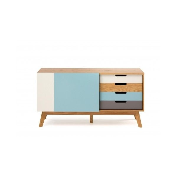 Chaser Multi-Coloured Oak Sideboard ($720) ❤ liked on Polyvore featuring home, furniture, storage & shelves, sideboards, painted furniture, painted oak furniture, midcentury furniture, mid century style furniture and painted buffet