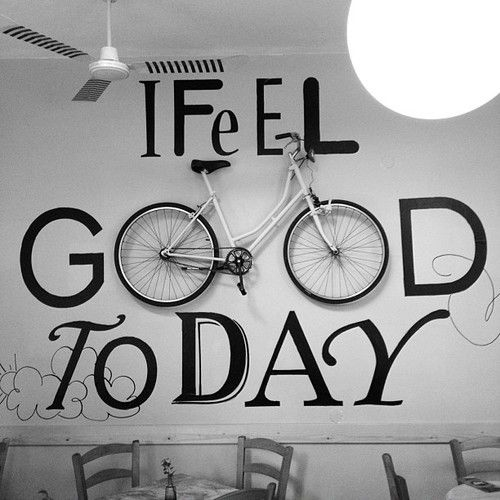 Black and white art typography 'I Feel Good Today' incorporating bike mount