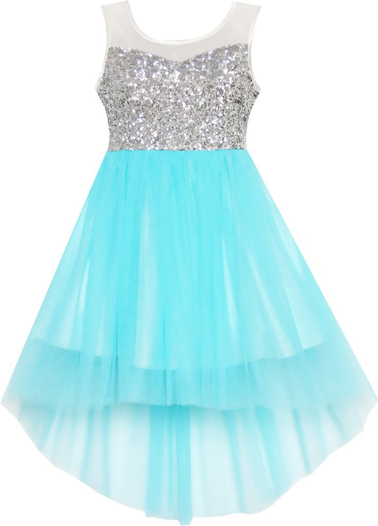 Girls Dress Sequin Mesh Party Wedding Princess Tulle Blue Size 7-14 Years