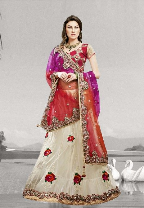 Beige & Red Embroidered Net Semistitched Party Wear Lehenga Choli