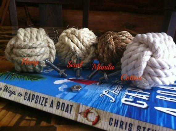 Nautical Doorknobs - Set of 7 knotty door knobs - manila, hemp, sisal or cotton rope - rope drawer pulls