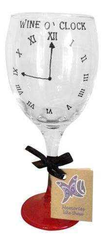 Red 'Wine O Clock' Hand Painted 340ml Wine Glass by Memories-Like-These UK