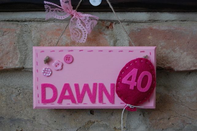 Handmade Personalised Birthday Number Sign with Felt Balloon £7.99