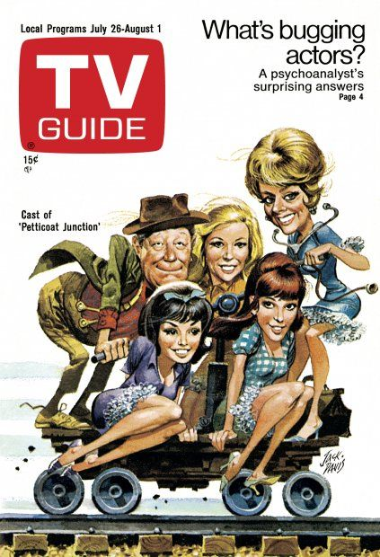 "TV Guide: July 26, 1969 - Cast of ""Petticoat Junction"" - Standing - Edgar Buchanan, Meredith MacRae, Bea Benaderet; Sitting - Lori Saunders, Linda Henning"