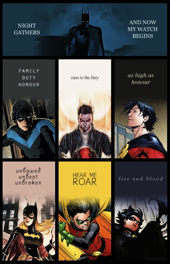 Bat Family and the House Words and Night's Watch Oath from Game of Thrones