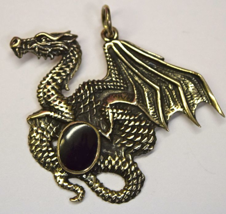 Silver with Black Onyx Dragon Pendant