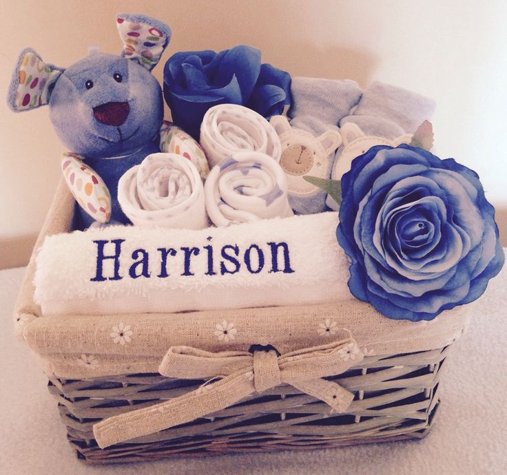 Image of Dotty the Dog - Personalised Baby Boy Gift Basket