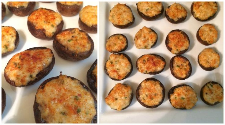 """Crab Stuffed Mushrooms, recipe courtesy of """"The Ultimate Appetizer Ideabook: 225 Simple, All Occasion recipes"""" by Kiera Stipovich and Cole Stipovich.  I made 1 change to the recipe, I used crab claw meat instead of lump crab meat Ingredients: crab claw meat, cream cheese, shredded Monterey jack cheese, lemon juice, chives, parsley, hot sauce, Worcestershire sauce, Cremini mushrooms and Ritz crackers."""