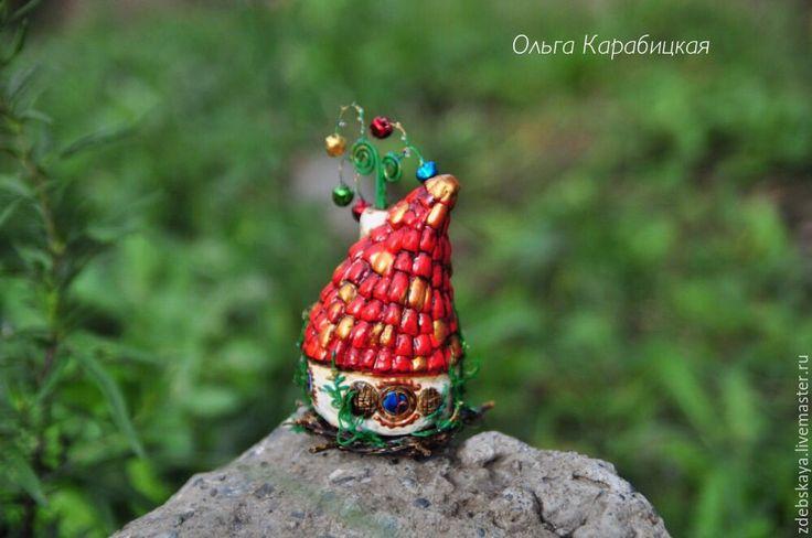 Купить Лесная избушка. - ярко-красный, красно-зеленый, дом, домик, избушка, подарок, миниатюра