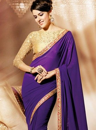 Gorgeous 'Symbolic' Purple Georgette #Saree - $55