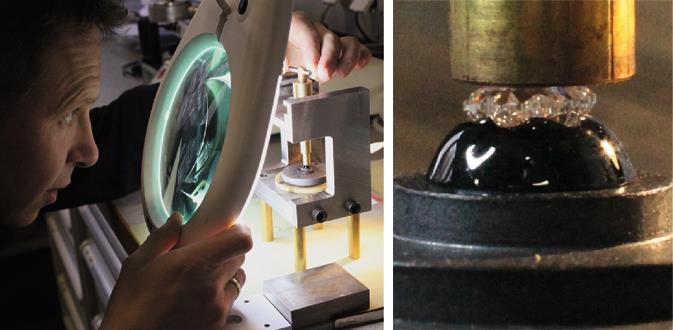7. The artisan needs all his experience to mount the patented 43-facet Montblanc Diamond, cut in the shape of the iconic Montblanc emblem, on the cap top. Heat, pressure and precision is needed for this production step.