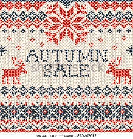 Vector illustration Autumn sale: Scandinavian style knitted pattern with deers. Red, blue and white colors. Flat style
