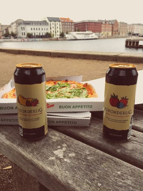 Enjoying the view and pizza in Copenhagen