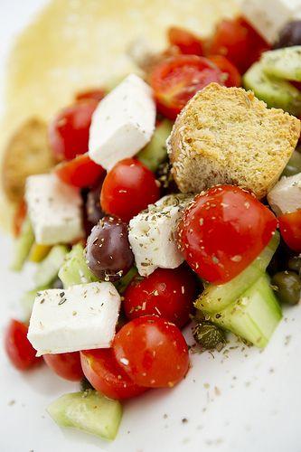 Greek salad at its best! Caldera Restaurant  - Volcano View Hotel & Villas, Santorini  http://www.volcano-view.com/