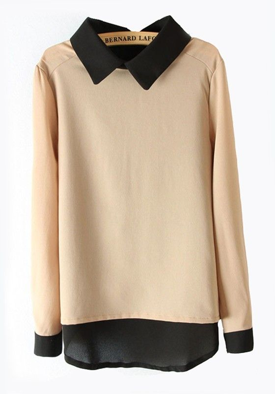 Multicolor Patchwork Lapel Long Sleeve Chiffon Blouse