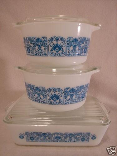 Pyrex Blue Horizon 6 PC Casseroles Refirgerator Dish w Lids | eBay