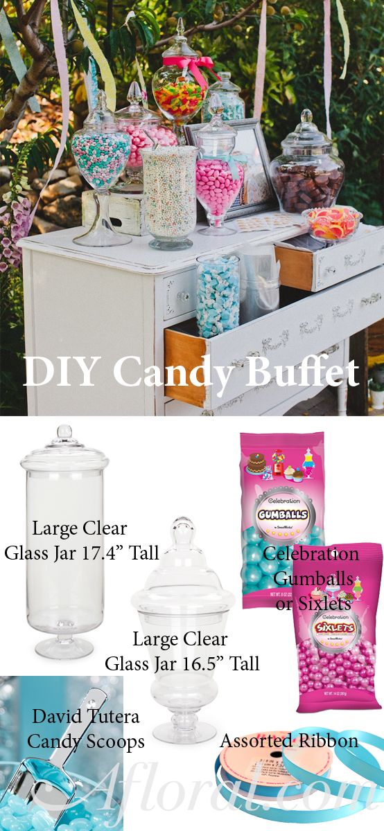 DIY Candy Buffet, Shop wedding decorations for large glass jars, candy scoops, candy and ribbon photo credit: ruffledblog.com #weddingdecorations #weddingreception #diywedding #budgetwedding #afloral
