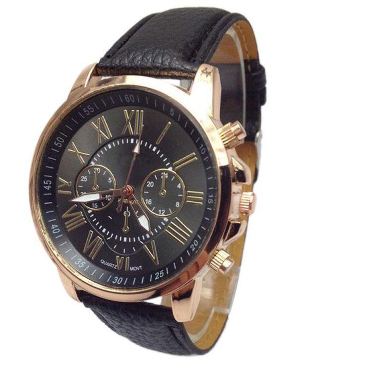 c7fc551431c Barato Stylish Men Relógio Marca Faux Couro Algarismos Romanos Relógios de  Quartzo Esportes Dos Homens As Mulheres Se Vestem de Negócios relógio de  Pulso ...