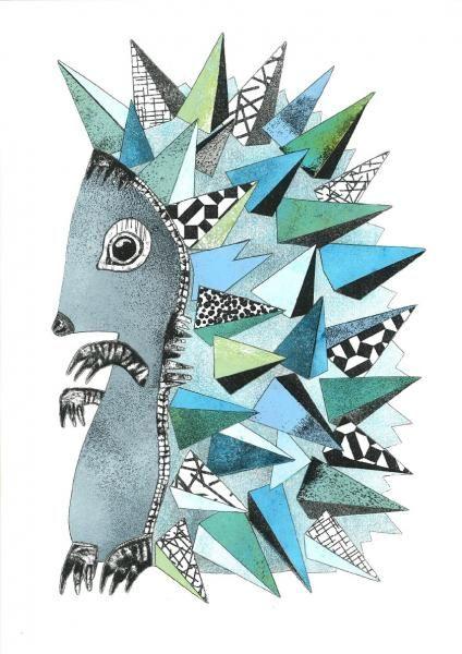 hedgehog blue #1 Collage - Kunstner, Illustrator, Monika Petersen, Collage, Dyr, Grafisk, : www.artunika.dk / www.artunika.com